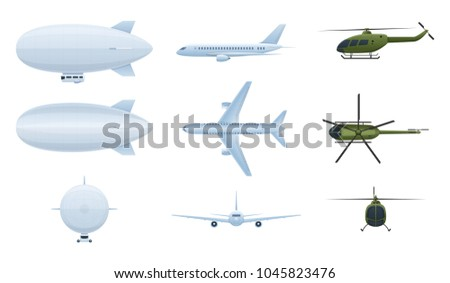 Modern air vehicles. Air balloon aerostat, helicopters, airplanes in different angles: side view, front, top. Transport for flight in the air. Vector illustration isolated.