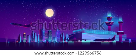 Modern airport cartoon vector with airliners standing near terminal with control tower, taking off from runway on background of night city skyscrapers neon light illustration. Metropolis transport hub