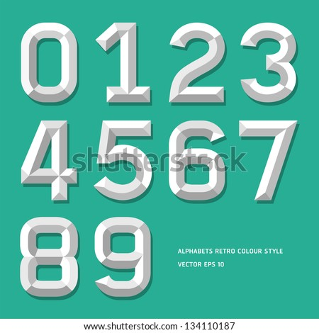 Modern alphabet number colour style. Vector illustration.