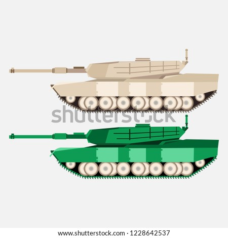 621086db3823d Modern American main battle tank flat side view vector illustration