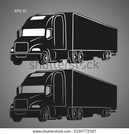 Modern american truck vector illustration icon. Heavy frighter with trailer logo