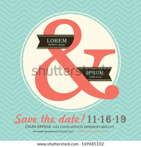 Modern Ampersand Wedding invitation with chevron background template