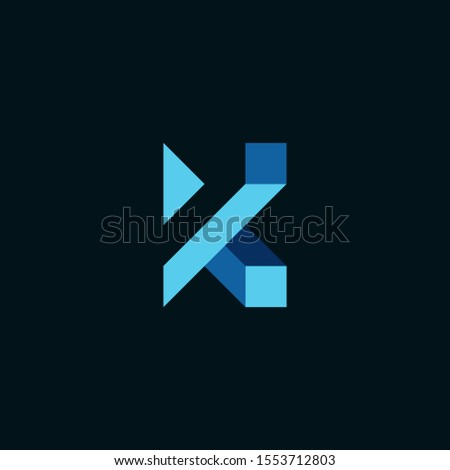 modern and futursitic the letter K , forming an optical illusion that is creative and elegant. editable and easy to custom Stock fotó ©
