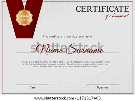 creative certificate of appreciation award template with blue an