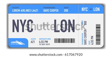 Modern and realistic airline ticket design with flight time and passenger name. vector illustration