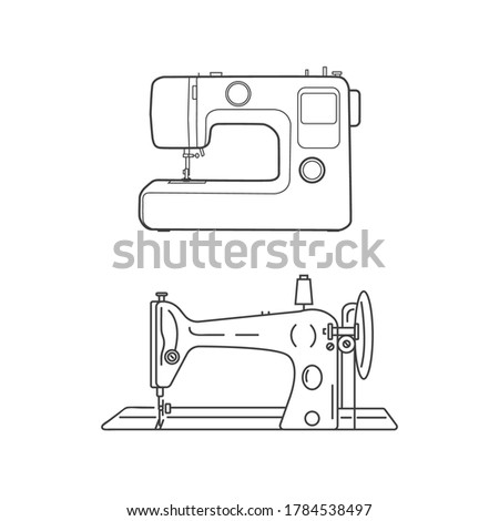 Modern and retro sewing machine. Sewing machines on a white background. Sewing icons Foto d'archivio ©