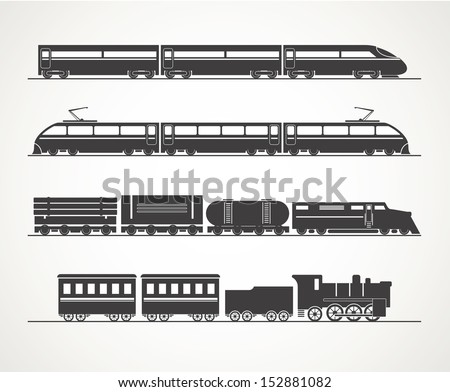 Shutterstock Modern and vintage train silhouette collection