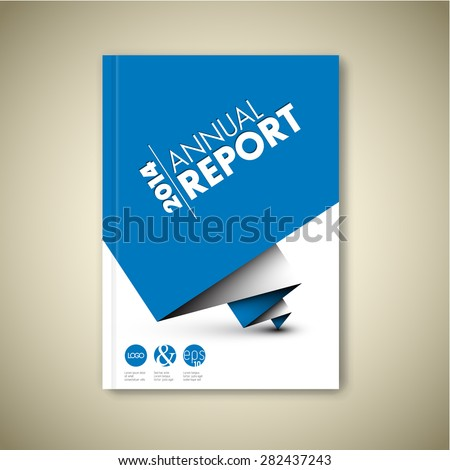 Modern Annual report Vector Abstract design template with blue paper on cover Front page