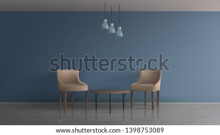 Modern apartment living room, hotel lounge, office waiting area minimalistic interior 3d realistic vector mockup. Two comfortable, chairs with backrest near coffee table in spacious room illustration