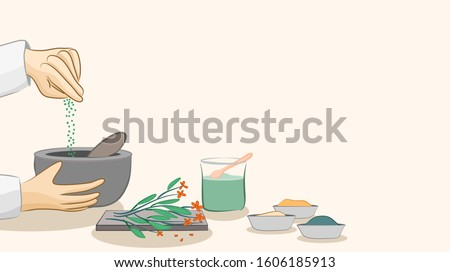 Modern apothecary, making of herbal medicine, sprinkling of spices, traditional or ancient therapy, Hands making and mixing herbal and spice ingredients. vector illustration, flat design