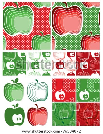 Modern Apple Seamless Vector Patterns.  Use to create items for home cooking or craft projects.
