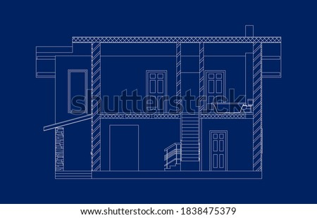Modern architectural background.  Cross-section house. Vector illustration. 10 eps. ストックフォト ©