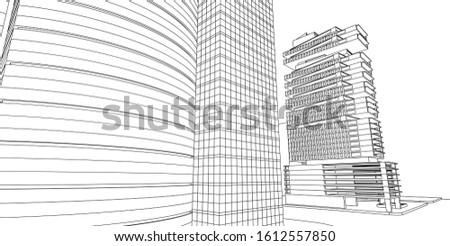 Modern architecture, 3D wireframe architecture, Sketch architectural design.