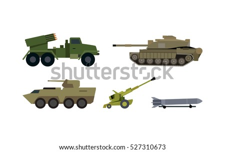 Modern armament types icons. Reactive artillery base mount on truck, tank, armored personnel carrier, howitzer cannon, ballistic missile flat vector illustrations isolated on white. Military machinery