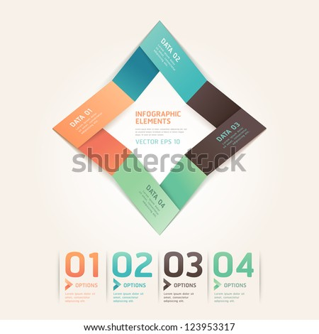 Modern arrow origami style number options banner. Vector illustration. can be used for workflow layout, diagram, web design, infographics.