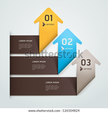 Modern arrow origami style step up number options banner template. Vector illustration. can be used for workflow layout, diagram, web design, infographics.