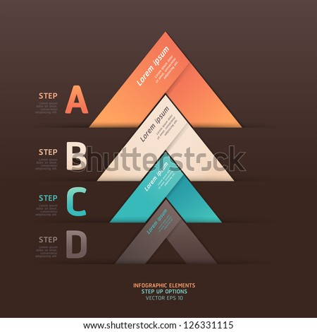 Modern arrow origami style step up options banner. Vector illustration. can be used for workflow layout, diagram, number options, web design, infographics.