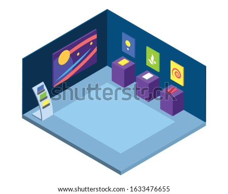 Modern art gallery isometric vector illustration. Artistic exhibition, exposition place interior 3d layout isolated on white. Museum masterpieces on walls, abstract paintings and creative exhibits