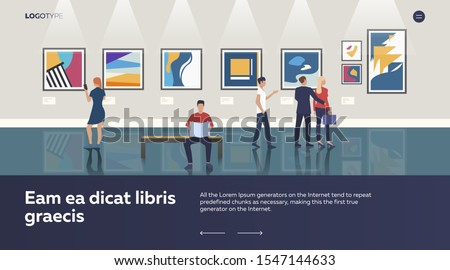 Modern art gallery. People looking at artworks in museum, showroom, exposition vector illustration. People, art, culture concept for banner, website design or landing web page