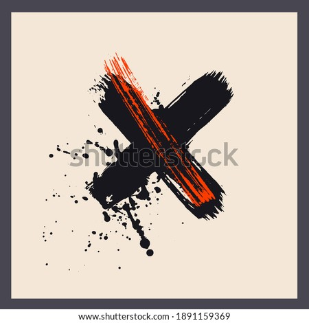 Modern art poster, cover with grunge cross and splatters. Abstract art coposition.
