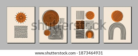 Modern art posters, covers with various hand drawn textures, abstarct shapes, dots, lines, rainbows, design elements, objects. Contemporary minimalist print.
