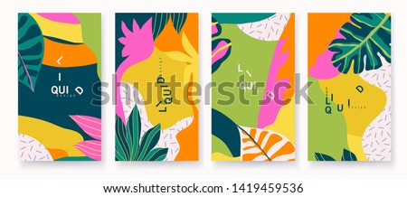 Modern artistic cards design template. Set of abstract background designs - summer sale, social media promotional content. Colorful trendy shapes.