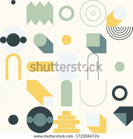Modern artwork of abstract unusual composition made with geometrical shapes and elements. Simple geometry vector background