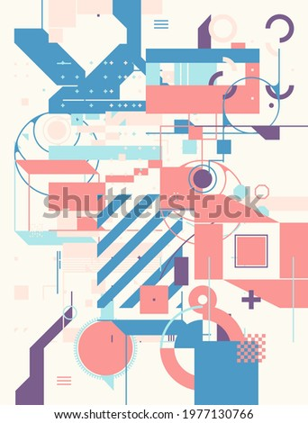 Modern artwork of abstract unusual composition made with geometrical shapes and elements. Simple geometry vector background useful for web design, business cards, invitation, poster, fashion prints.