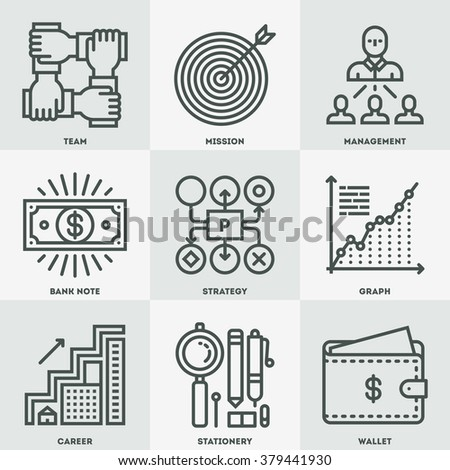 Modern Assorted Business Mono Linear Icon Set. Trendy Simple Line Design Art Vector Illustrations.