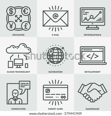 Modern Assorted Global Business Mono Linear Icon Set. Trendy Simple Line Design Art Vector Illustrations.