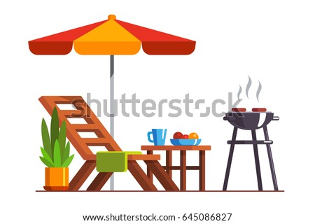 Modern backyard design exterior with lounger, table, sunshade umbrella and electric grill for barbecue. Cooking meat & grilling bbq outside. Flat style vector illustration isolated on white background