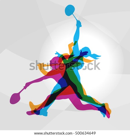 Modern Badminton Women Players In Action Logo