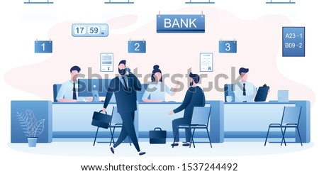 Modern bank office interior. Bank managers and customers characters. People clients in bank office room. Bank employees or staff on workplace. Trendy style vector illustration