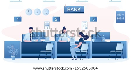 Modern bank office interior. Bank managers and customers characters. Woman client in bank office room. Bank employees or staff on workplace. Trendy style vector illustration