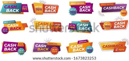 Modern banner design with a set of Cashback tags. Illustration of money back for promotion, sales, discounts. Isolated colorful sticker, cash back emblem.  Foto stock ©