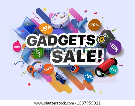 Modern banner of gadgets sale products. Vector illustration of a business poster with different 3d isometric items of gadgets goods. Laptop. Smartphone. Camera. Wrist watch. Headphones. Music column Stock photo ©