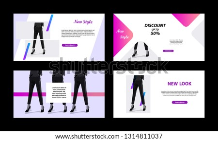 Modern banner template. Minimal peach, pink violet vibrant color in white background.  For social media post, profile header, headline, advertisement, web banner, flyer, poster and catalog.