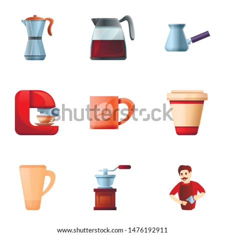 Modern barista coffee icon set. Cartoon set of 9 modern barista coffee vector icons for web design isolated on white background