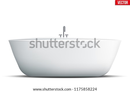 Modern bath isolated on white background. Element for design bathroom. Vector Illustration