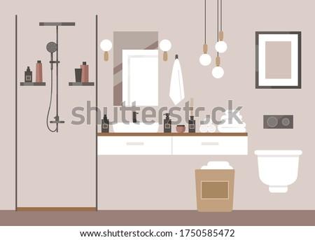 Modern bathroom. Deluxe hotel room, spa salon, suite. Toilet, shower, lights, chandelier, towels, cosmetics, shampoo, mirror. Loft interior