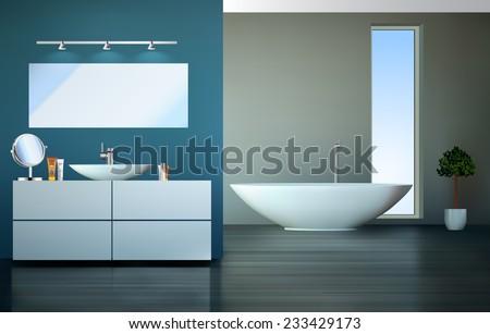 Modern bathroom - home interior - vector graphic