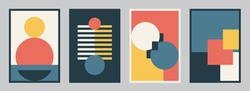 Modern bauhaus design set vector background. Simple pattern in trendy flat style with yellow, blue, red, white and black color geometric shapes. Minimal abstract art.