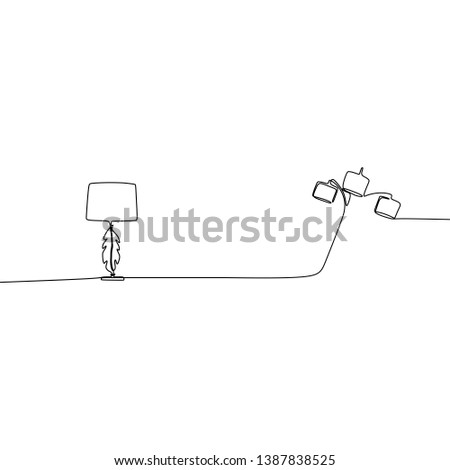 modern bed lamp and bed lamp one line lamps on a white background Vector
