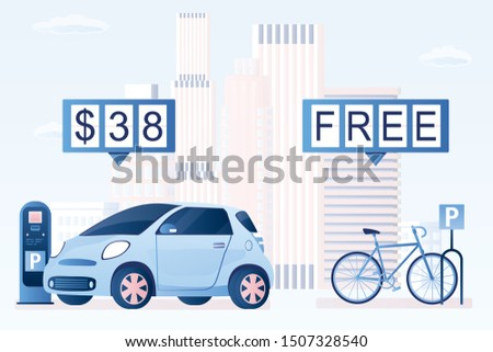 Modern bike on parking. Free bike parking, paid car parking and parking meter. Urban view on background. City for green transport concept. Flat trendy vector illustration