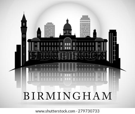 Modern Birmingham City Skyline Design. England