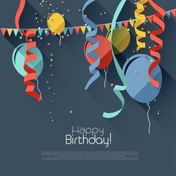 Modern birthday background in flat design style