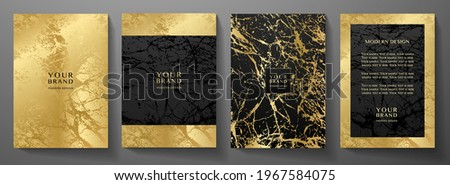 Modern black and gold cover, frame design set. Creative premium abstract with marble texture (crack) background. Luxury vector collection for catalog, brochure template, magazine layout, luxe booklet Stockfoto ©