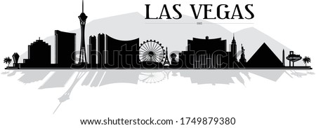 Modern black and white illustration of the city of Las Vegas Nevada strip skyline shadow silhouette of casinos, hotels, buildings and landmarks with reflection vector graphic design