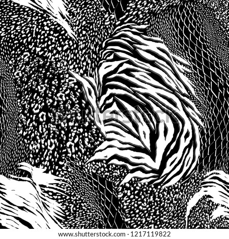 Modern black and white Mixed animal skin,tiger,zebra,leopard,snake, background. Seamless pattern vector design for fashion fabric ,wallpaper and all prints on black