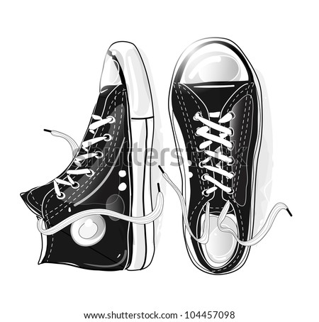 modern black and white sneakers illustration